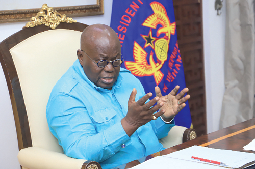 President Akufo-Addo addressing members of the Anti-Corruption Coalition at the Jubilee House